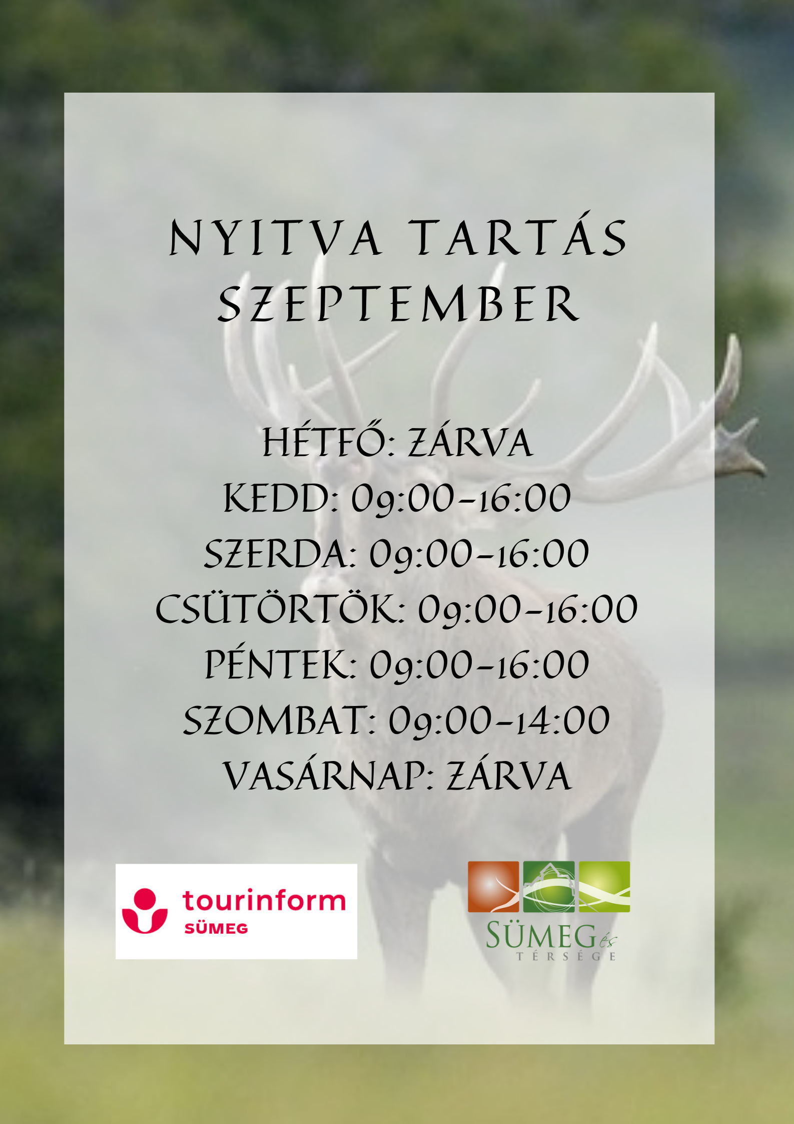 Sümeg Tourinform Iroda Szeptemberi nyitva tartása