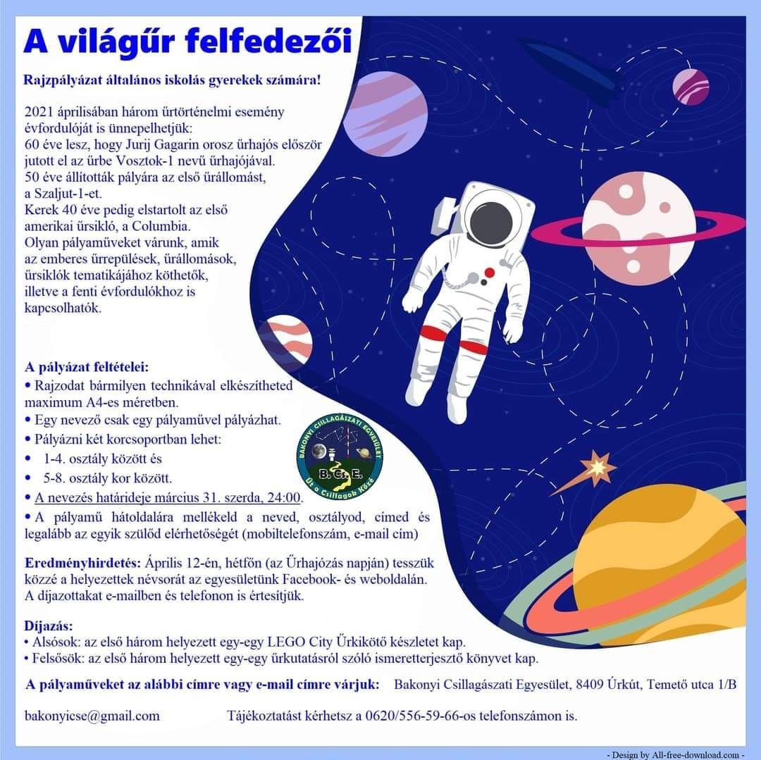 A világűr felfedezői- rajzpályázat