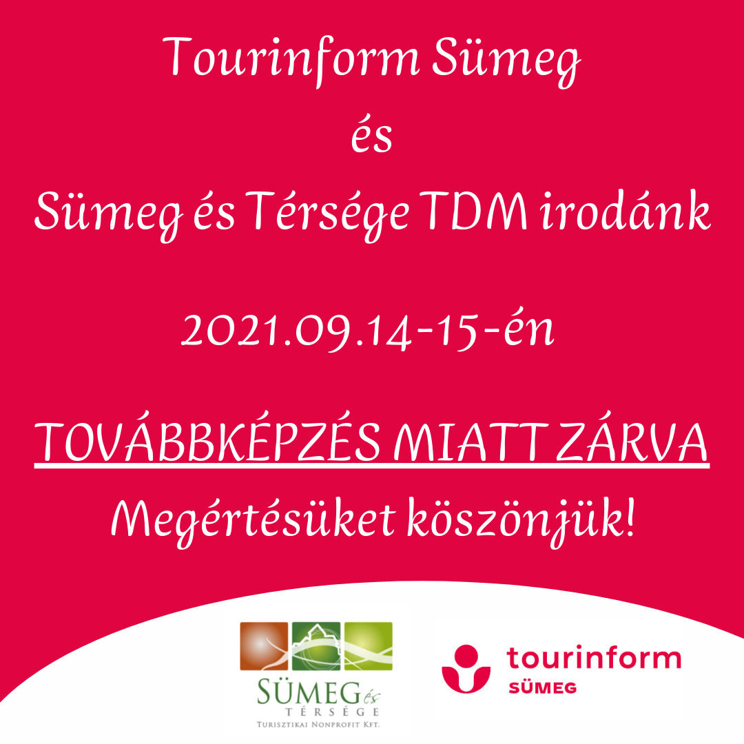 Tourinform Iroda Továbbképzés miatt ZÁRVA