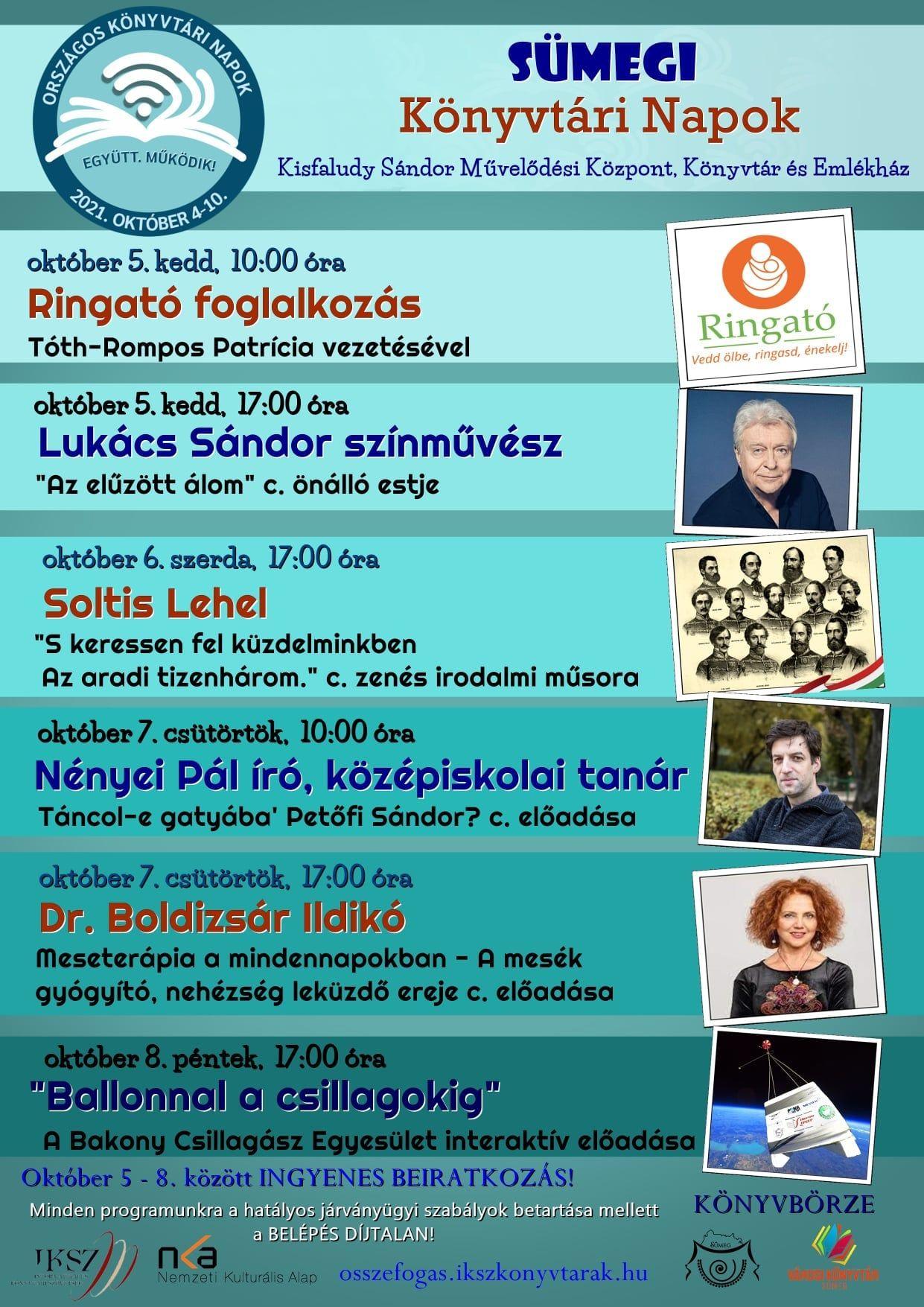 Könyvtári napok: Soltis Lehet- zenés irodalmi műsora